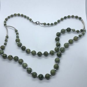 Green Jasper Beads W/ silver tone beads Necklace